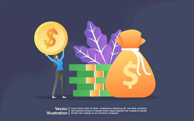 Concetto dell'illustrazione di trasferimento di denaro da e verso il portafoglio. risparmio finanziario o concetto di economia. Vettore Premium