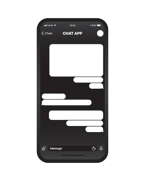 Concetto dell'interfaccia utente di app di chat mobile Vettore Premium