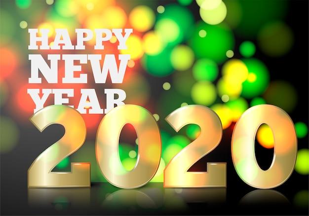 Concetto dell'invito del nuovo anno con il grande numero dorato 2020 sul fondo luminoso del bokeh Vettore Premium