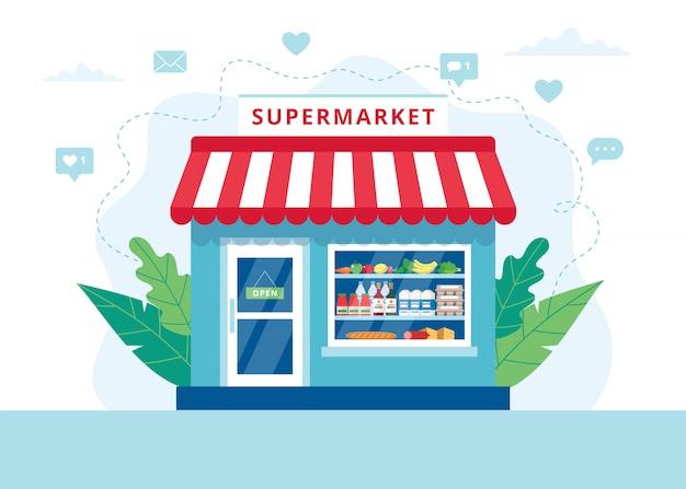 Concetto della drogheria, supermercato con la drogheria differente. Vettore Premium