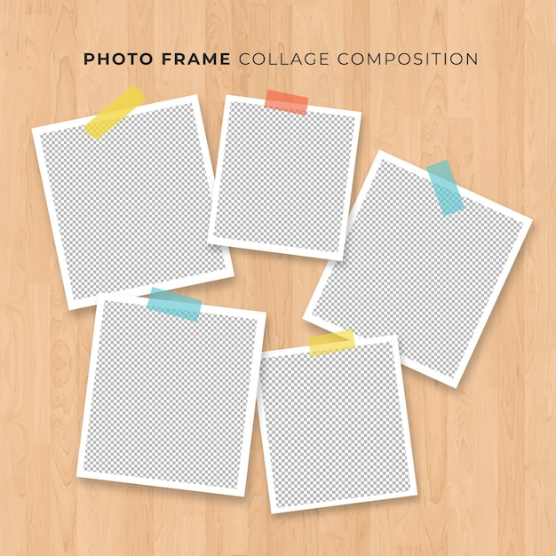 Concetto della polaroid del collage della struttura della foto su fondo di legno Vettore gratuito