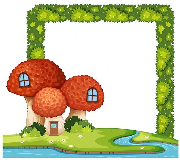 Concetto della struttura del cespuglio della casa del fungo Vettore Premium