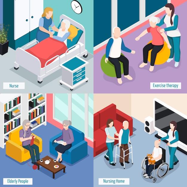 Concetto delle sistemazioni della casa di cura degli anziani con i residenti che leggono l'illustrazione isolata assistenza medica di terapia di esercizio del salotto Vettore gratuito