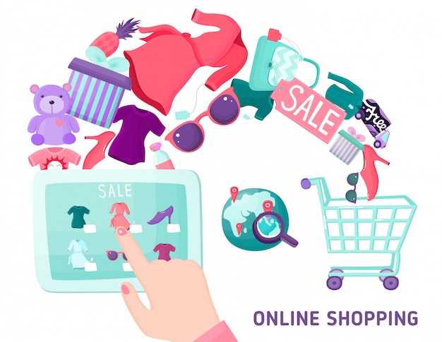 Concetto dello schermo attivabile al tatto di acquisto online Vettore gratuito