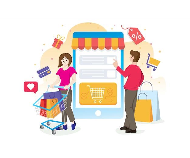 Concetto dello shopping online con personaggi Vettore Premium