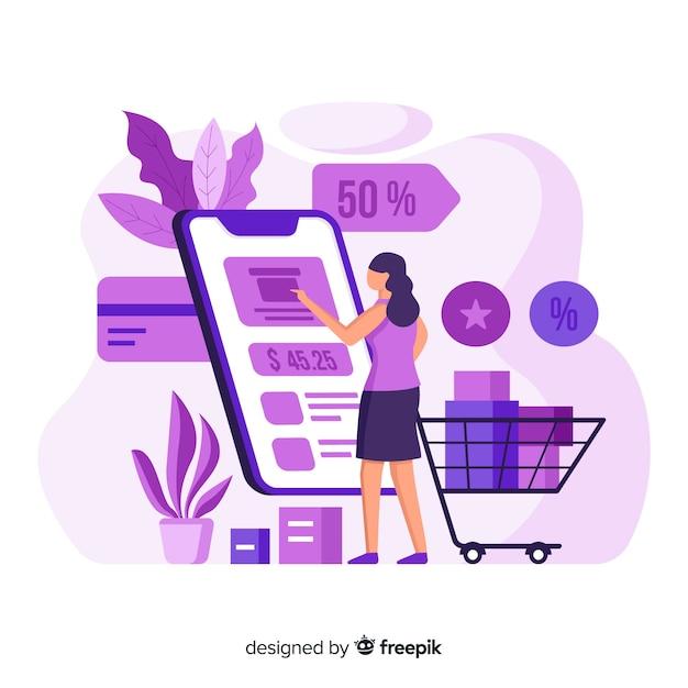Concetto dello shopping online per la pagina di destinazione Vettore gratuito