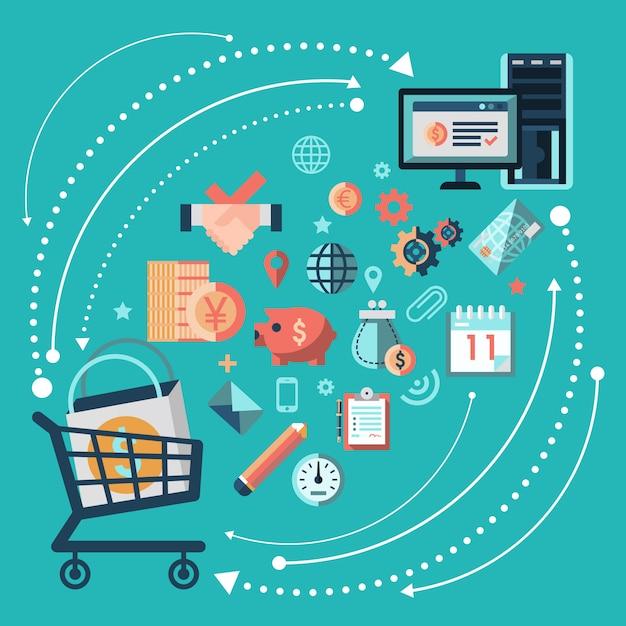 Concetto dello shopping online Vettore gratuito
