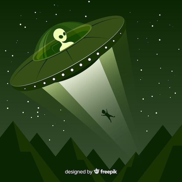 Concetto di abduction ufo con design piatto Vettore gratuito
