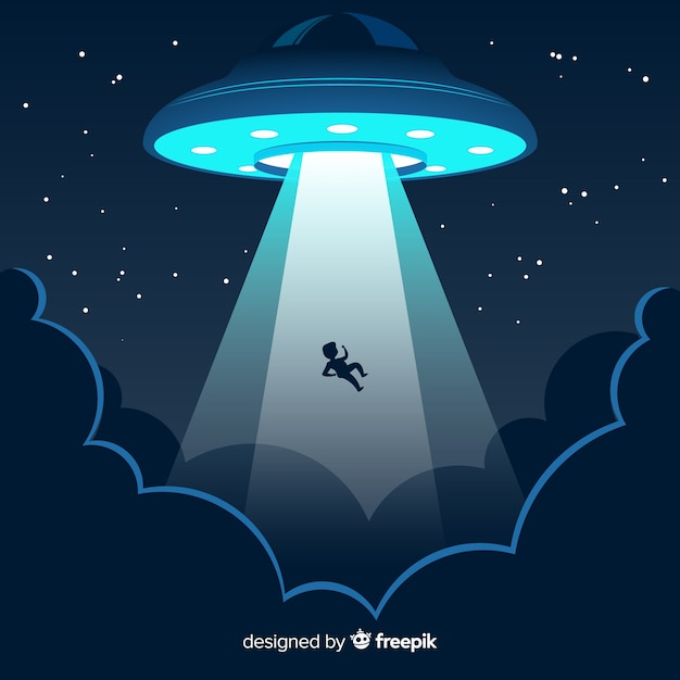 Concetto di abduction ufo con design piatto Vettore gratuito