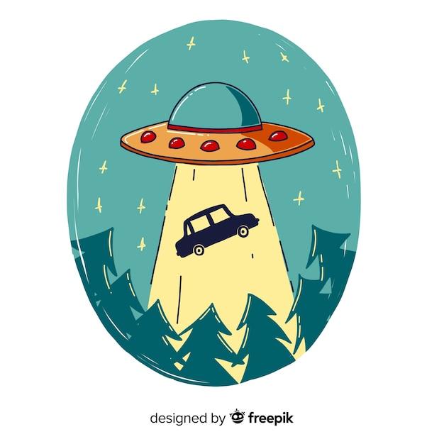 Concetto di abduction ufo disegnato a mano Vettore gratuito