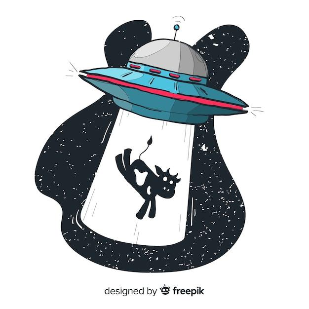 Concetto di abduction ufo mano moderna disegnata Vettore gratuito