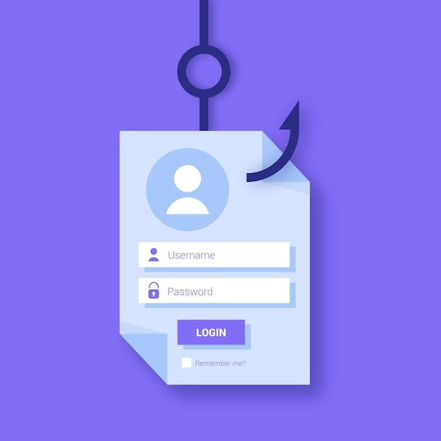 Concetto di account di phishing con gancio Vettore gratuito