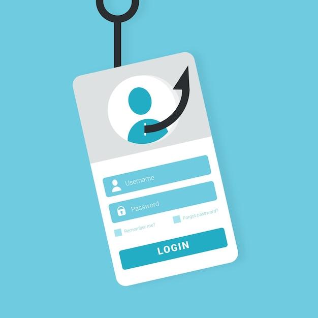 Concetto di account di phishing con l'illustrazione del gancio Vettore gratuito