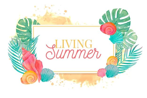 Concetto di acquerello estate sfondo Vettore gratuito