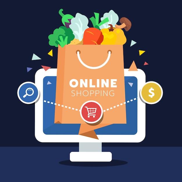 Concetto di acquisto online al dettaglio Vettore Premium