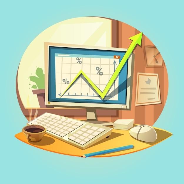 Concetto di affari con il retro computer portatile del fumetto sulla scrivania Vettore gratuito