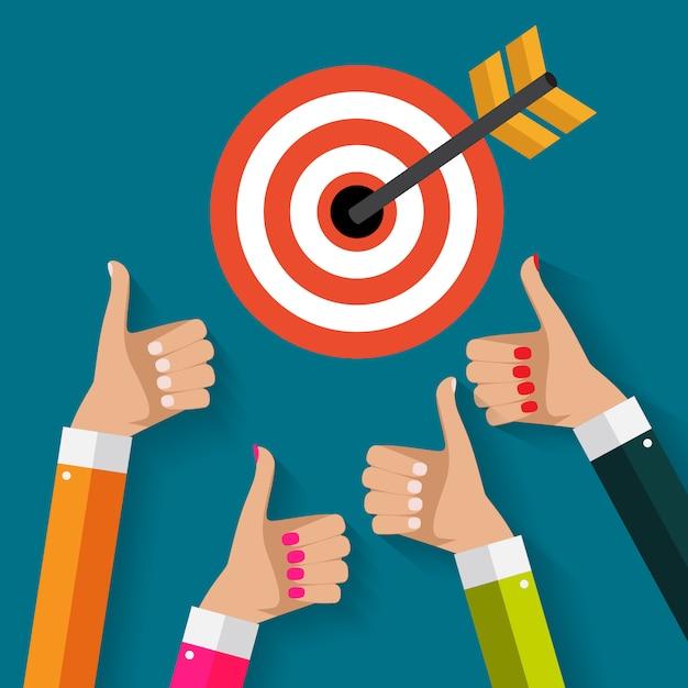 Concetto di affari con la mano dell'obiettivo della tenuta dell'uomo d'affari con la freccia nello stile piano moderno. illustrazione vettoriale Vettore Premium