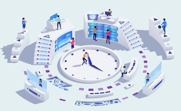 Concetto di affari della gestione di tempo, illustrazione Vettore Premium