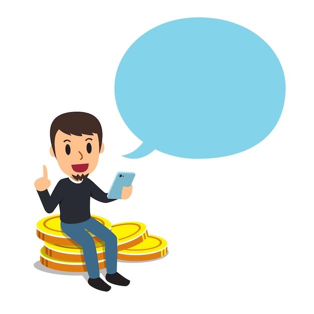 Concetto di affari un uomo con la grande pila della moneta e fumetto Vettore Premium