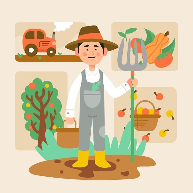 Concetto di agricoltura biologica per l'illustrazione Vettore gratuito