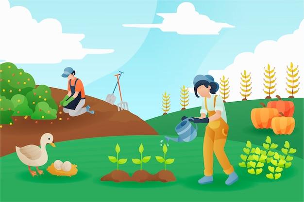 Concetto di agricoltura biologica uomo e donna Vettore gratuito