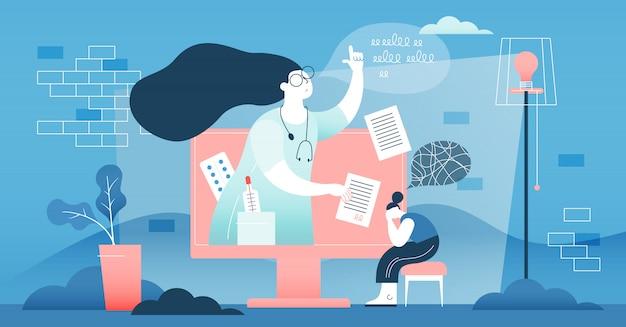 Concetto di aiuto medico medico online. Vettore Premium