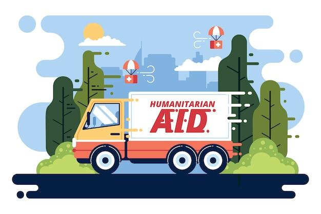 Concetto di aiuto umanitario con camion per aiuto Vettore gratuito