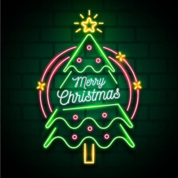 Concetto di albero di natale con design al neon Vettore gratuito