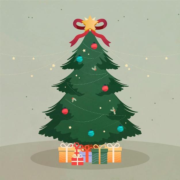 Concetto di albero di natale con design vintage Vettore gratuito