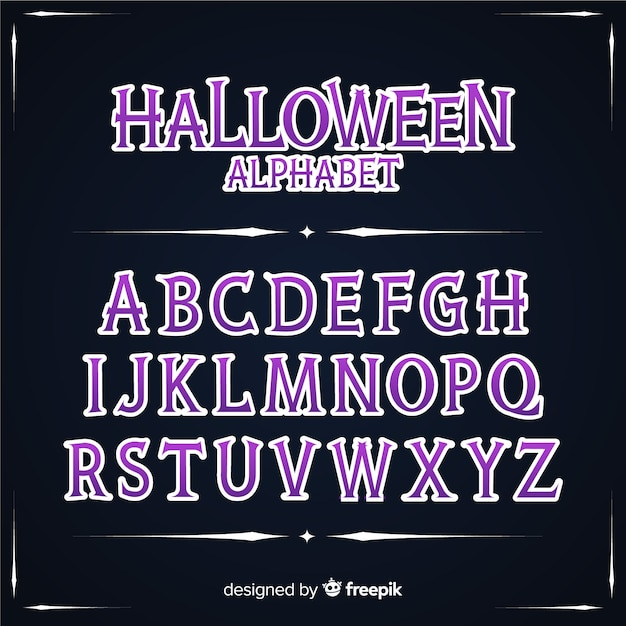 Concetto di alfabeto halloween vintage Vettore gratuito