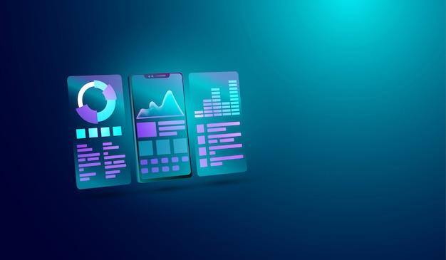 Concetto di analisi dei dati sullo schermo dello smartphone Vettore Premium