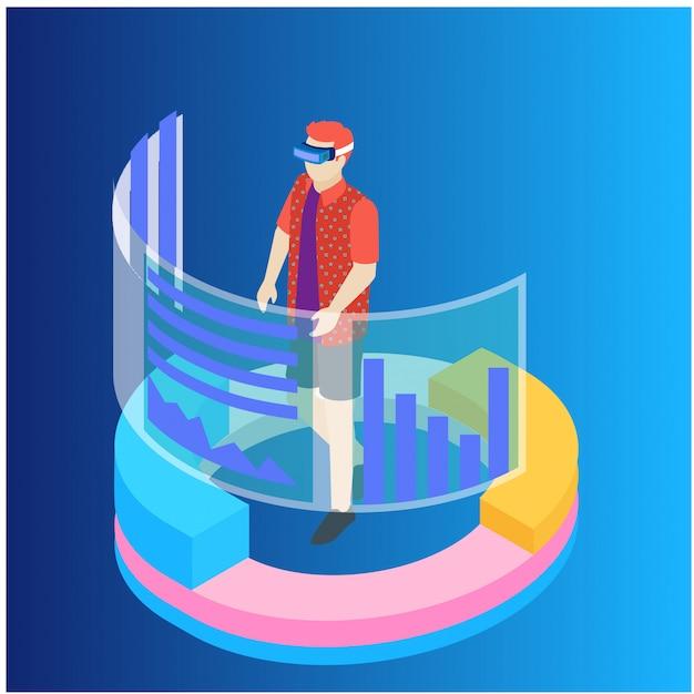 Concetto di analisi e statistiche dei dati isometrici Vettore Premium