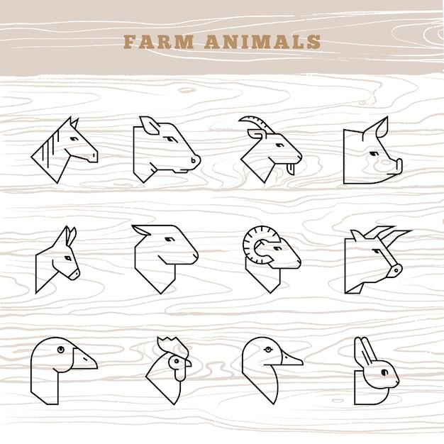 Concetto di animali da fattoria. icona di vettore impostata in uno stile lineare di sagome di animali da fattoria Vettore Premium