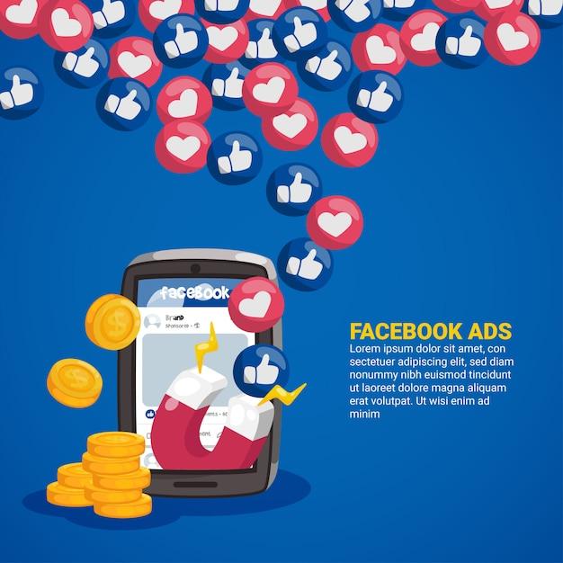 Concetto di annunci di facebook con magnete ed emoticon Vettore Premium