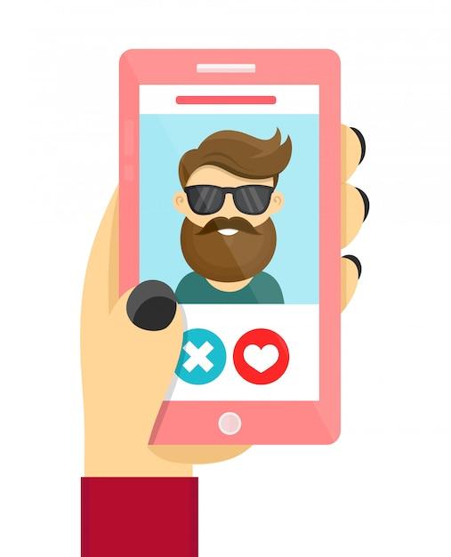 Concetto di app d'amore per incontri online. uomini e donne usano il telefono per sviluppare relazioni e appuntamenti. Vettore Premium