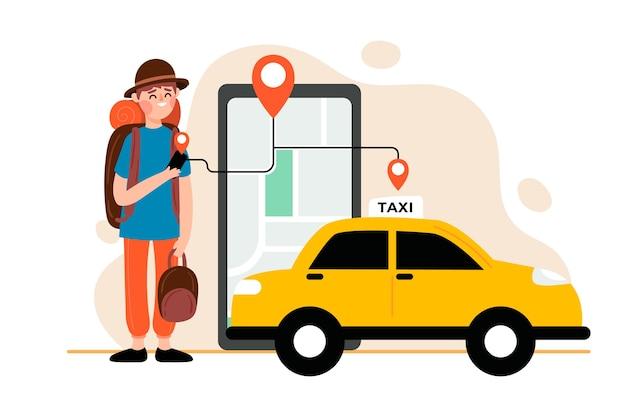 Concetto di app di taxi Vettore gratuito