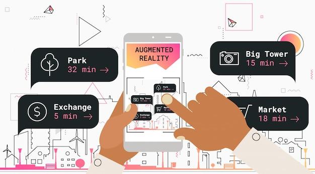 Concetto di app mobile di realtà aumentata del turismo della città Vettore Premium