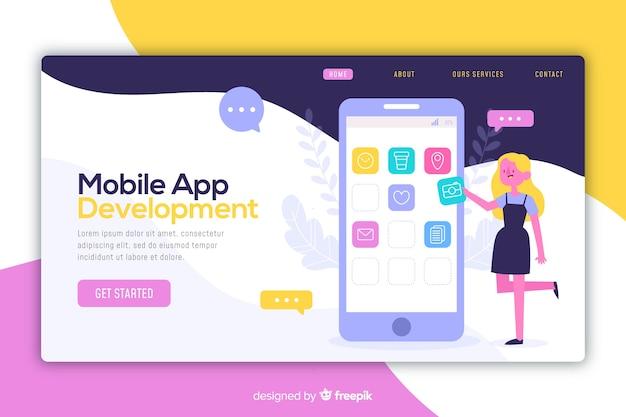 Concetto di app mobili per landing page Vettore gratuito
