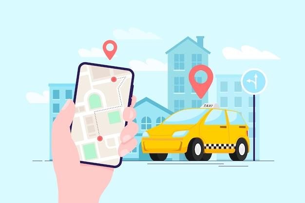 Concetto di app per taxi Vettore gratuito