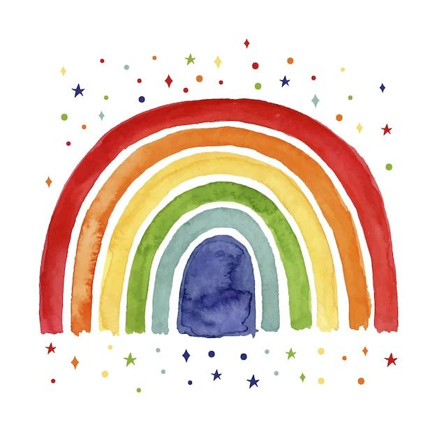 Concetto di arcobaleno ad acquerello Vettore gratuito