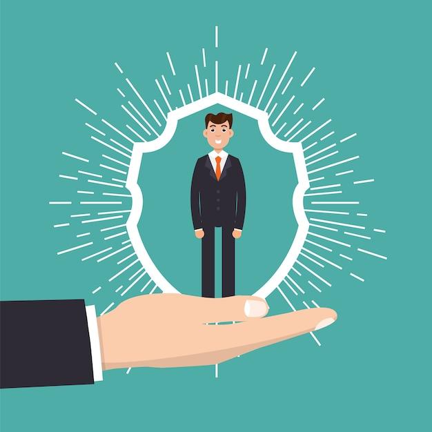 Concetto di assistenza clienti, fidelizzazione o fidelizzazione. l'uomo d'affari in una mano tiene il cliente. Vettore Premium