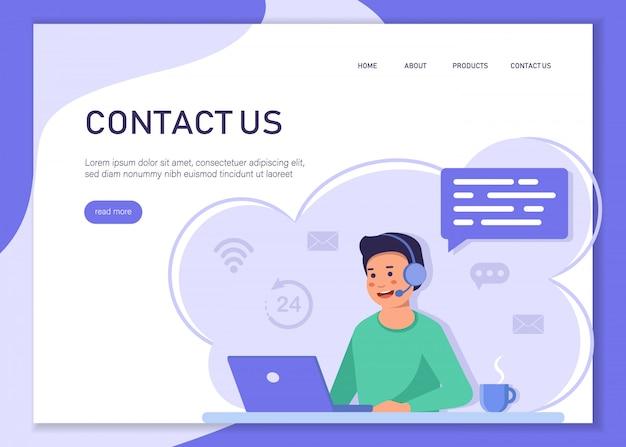 Concetto di assistenza clienti. l'impiegato del contact center è un bel ragazzo giovane illustrazione. può usare per banner web, infografiche, immagini di eroi. Vettore Premium