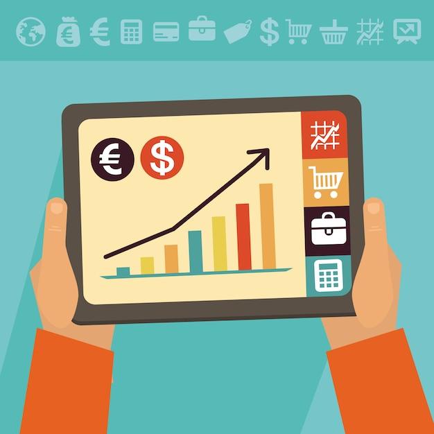 Concetto di attività bancarie online di vettore Vettore Premium