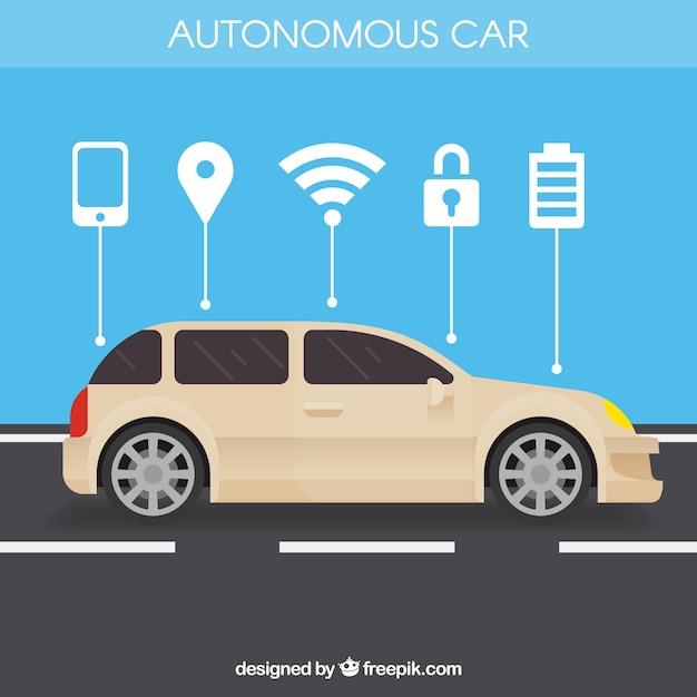 Concetto di auto autonoma con design piatto Vettore gratuito