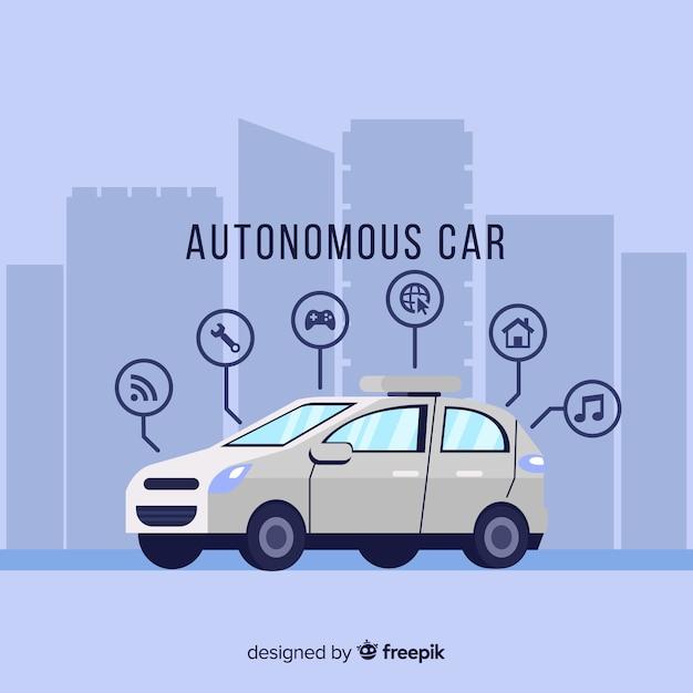 Concetto di auto autonoma Vettore gratuito