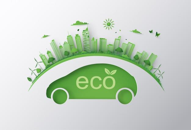 Concetto di auto ecologica e ambiente Vettore Premium
