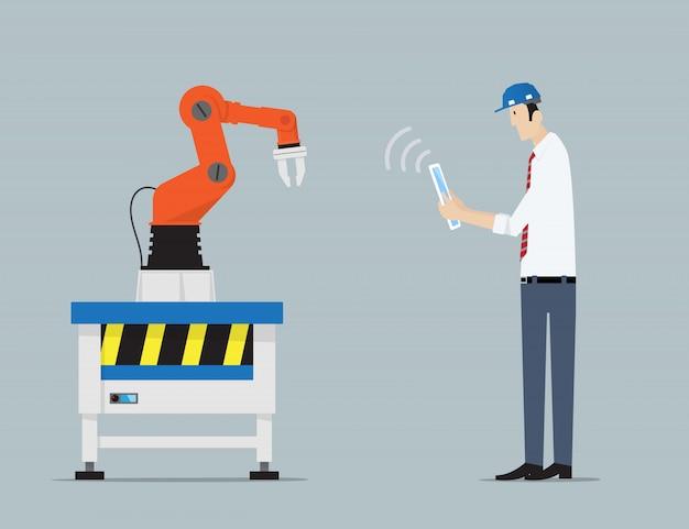 Concetto di automazione di fabbrica. Vettore Premium
