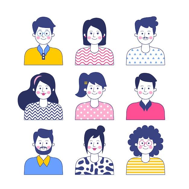 Concetto di avatar di persone Vettore gratuito
