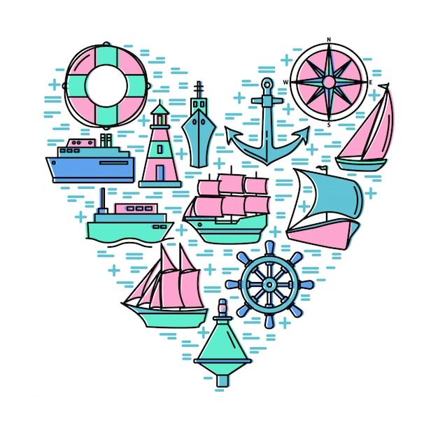 Concetto di avventura del mare con elementi sulla composizione a forma di cuore Vettore Premium