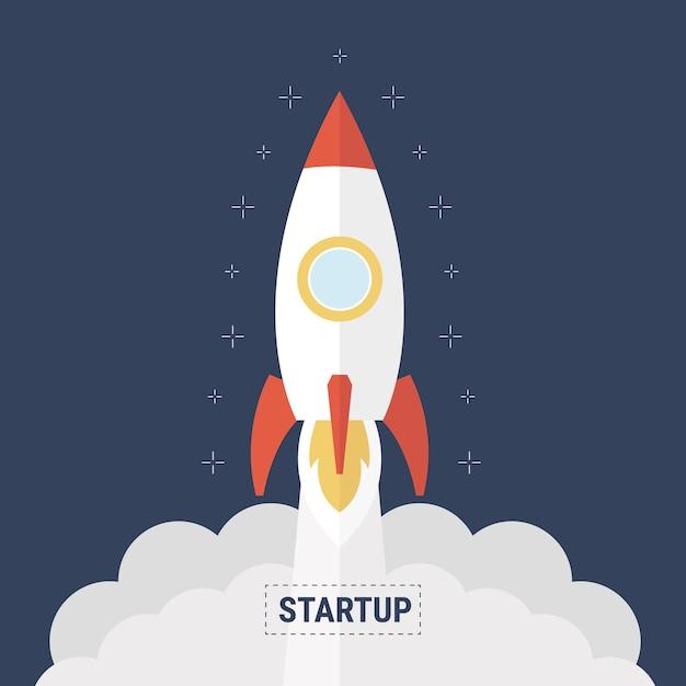 Concetto di avvio avvio business design piatto con icona di razzo. Vettore Premium